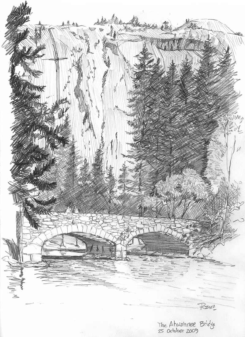 The ahwahnee bridge pencil sketch